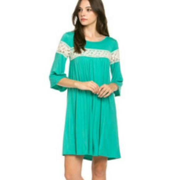 Crochet Trim Bell Sleeve Swing Knit Dress Mint